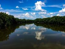 Det väldiga Wabashet River i Lafayette Indiana Arkivbild