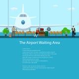 Det väntande området för flygplats med folk royaltyfri illustrationer
