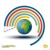 Det världsInfographic histogrammet, kartlägger diagram Arkivfoto
