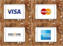 Det världsomspännande visumet för metoder för pengaröverföringen, mastercard, upptäcker, amerikanskt uttryckligt Arkivfoto