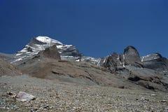 Det västra vänder mot av sakrala Mount Kailash Arkivbilder