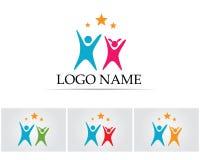 Det vård- framgångfolket att bry sig logo- och symbolmallen Royaltyfri Foto