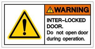 Det varnande inter-låset gör tecknet för den inte öppna dörren, vektorillustrationen, isolat på den vita bakgrundsetiketten EPS10 royaltyfri illustrationer