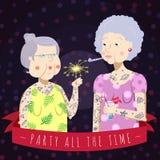 Det vektorbakgrund och kortet festar hela tiden med pensionären tatuerade kvinnor vektor illustrationer