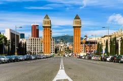 Det Venetian står hög på Espanyaen kvadrerar, Barcelo Arkivfoto