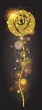 Det vertikala banret som guld- ljust steg med, mousserar Stor solfackla, glöd, ferie, prydnader för design vektor Royaltyfri Bild