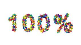 Det vibrerande festliga 100 procent tecknet bildade av bollar Arkivbild