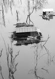 Det Vietnam landskapet som svävar huset, trädet reflekterar Arkivbild