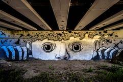 Det visar flugan av en flock inom meningen av en person som håller ögonen på couriously vem passerar under bron royaltyfria bilder