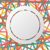 Det vita cirkelbrädet och gränsen på den färgrika linjen abstrakt begrepp planlägger bakgrundsbegrepp Arkivfoto