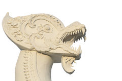 Det vita halva lejonet och drakehuvudet skulpterar på vit bakgrund Arkivbilder