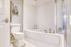 Det vita propra badet badar med tegelplattaklippning Arkivfoton