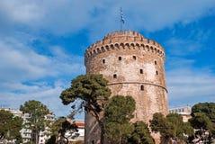 Det vita tornet på den Thessaloniki staden Royaltyfri Bild