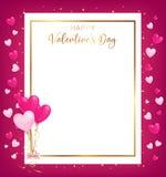 Det vita utrymmebrädet med den guld- gränsen och den lyckliga dagen för valentin` s smsar stock illustrationer