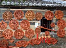 Det Wood fönstret av Fujian de jord- strukturerna Royaltyfri Foto