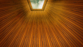 Det Wood perspektivet ser himlen royaltyfri foto