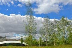 Det Zaryadye Natur-landskapet parkerar i mitt av Moskva Royaltyfri Fotografi