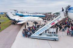 Det Zhukovsky flygfältet, vänder ombord TUEN-144 på MAKS Fotografering för Bildbyråer
