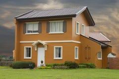 Detach  single house. With nice orange sky background Royalty Free Stock Photography