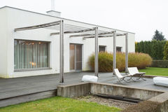 Detached house with beauty terrace Stock Images