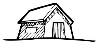 Detached house. Hand-drawn vector drawing of a Detached House vector illustration