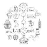 Detached house icons set, outline style. Detached house icons set. Outline set of 25 detached house vector icons for web isolated on white background Royalty Free Stock Images