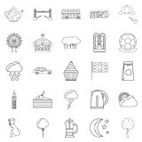 Detached house icons set, outline style. Detached house icons set. Outline set of 25 detached house vector icons for web  on white background Royalty Free Stock Photo