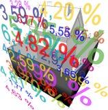 "Detached house + ""interest rate percentage"" diagram Stock Image"
