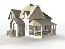 Detached modern house. Three dimensional illustration of detached modern house with wooden porch, isolated on white background Royalty Free Stock Photo
