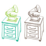 Detached on the nightstand retro gramophone made in the thumbnai Royalty Free Stock Images