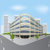 Detached office building on a city street with trees Stock Images