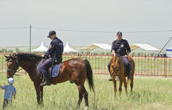 Detachment of mounted police on duty during the celebration of the holiday Sabantuy Stock Images