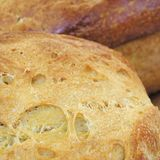 Detai of a bread loaf. Bread loafs sold in a market stock photo