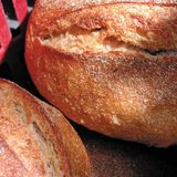 Detai of a bread loaf. Bread loafs sold in a market royalty free stock photos