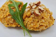 Detai of sweet potatoes risotto. Detai of sweet potatoes vegtable risotto Royalty Free Stock Image
