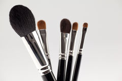 A detail of a 5 brushes make-up set. Royalty Free Stock Photography