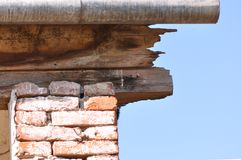 Abandoned house. Detail of abandoned and deteriorated brick house royalty free stock photos