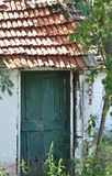 Door of abandoned house. Detail of abandoned and deteriorated house royalty free stock photography