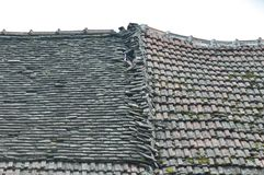 Deteriorated roof. Detail of abandoned and deteriorated roof stock images