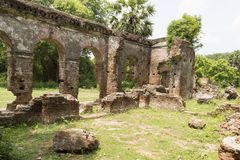 Details of abandoned half-ruined medieval temple india Stock Images