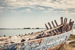 Abandoned old fishing boat stock photos