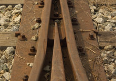 Detail of an abandoned railway tracks Stock Photo