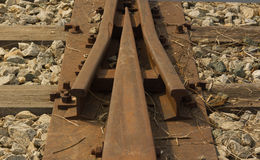 Detail of an abandoned railway tracks Royalty Free Stock Images