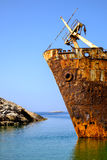 Detail of abandoned rusty shipwreck on Amorgos island Stock Photos