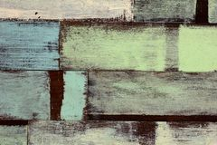 Detail of abstract art color wood wall white blue. Green Stock Images