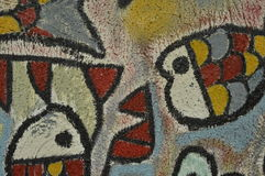 Detail of abstract artwork painted on mural or graffiti Royalty Free Stock Photography