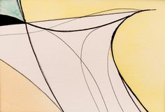 A Detail from an Abstract Painting using Pencil, Ink and Watercolour; Graceful Looping Lines. vector illustration