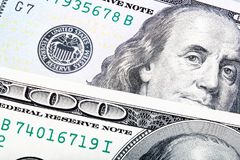 Detail Abstract stacked shot of the Newly Design U.S. One Hundre. D Dollar Bill Royalty Free Stock Photo