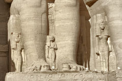 Detail of the Abu Simbel temples. Sunny illuminated architectural detail of the historic Abu Simbel temples in Egypt (Africa stock photo