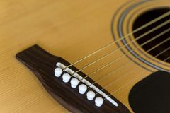 Detail of acoustic guitar Royalty Free Stock Photography